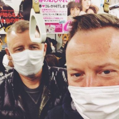 Tom (in the back) Oliver (in front) - we both had a bit of a cold, so we went with the local rules and covered our faces.