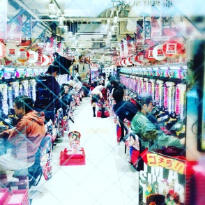 a Pachinko hall, the Japanese slot machine game