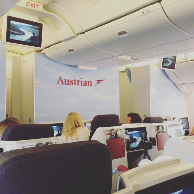interior of the Austrian Airlines business class section